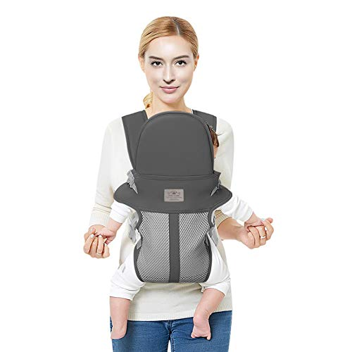 FRUITEAM Baby Carrier, Refreshing and Breathable, More Suitable for Newborn Babies (Dark Gray)