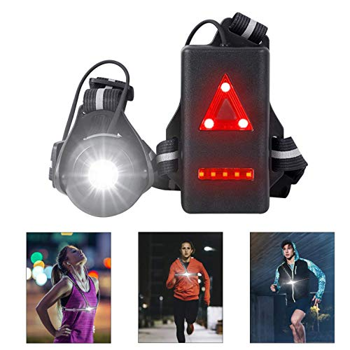 West Biking Night Running Lights, USB Rechargeable Chest Light with 90° Adjustable Beam Angle, 500 Lumens Waterproof Ultra Bright Safety Warning Lamp with Reflective Straps for Runner Jogger Camping