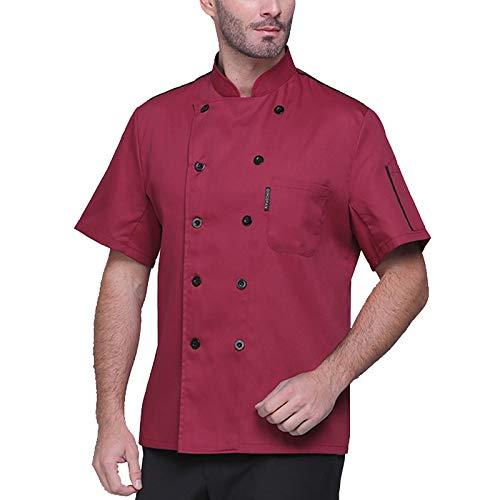 QWA Unisexo Manga Corta Cocinero Abrigo Chaqueta Cocinando Hotel Uniforme de Chef Verano Camisa de Panaderos (Color : Red, Size : A(M))