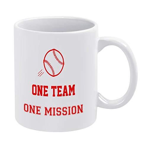 One Team One Mission - Taza de café de béisbol para hombres y mujeres, amigas de cumpleaños, 325 ml, color blanco