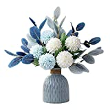 Hopeful finti fiori 6 ortensie artificiali e tante foglie blu Adatto per la decorazione di matrimoni, camere e giardini, come regalo per parenti e amici