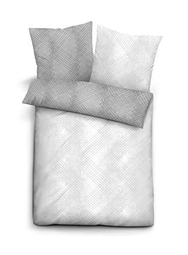 biberna 0636082 Bettwäsche Garnitur mit Kopfkissenbezug Mako-Satin 1x 155x220 cm + 1x 80x80 cm, weiß