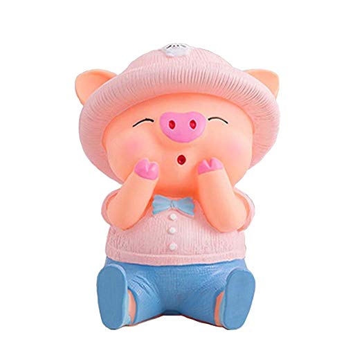 Sparschwein 24cm Nettes Schwein Piggy Bank-Münzen-Geld-Kästen aus Kunststoff PVC Noch Ersparnisse Spielzeug Bargeld-Safe Kind-Liebhaber-Geschenk Sparbüchse (Color : B)