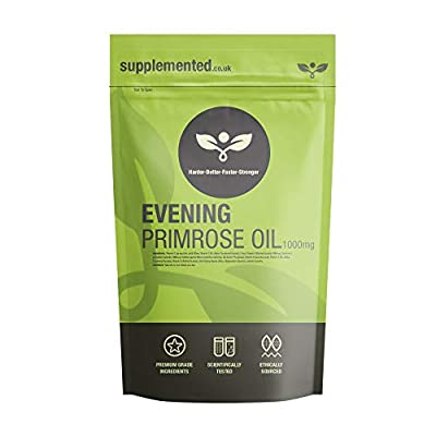 Evening Primrose Oil 1000mg 180 Softgels, Capsules, Pure Cold Pressed Supplement by Supplemented