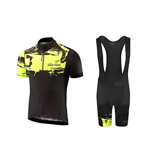 Uglyfrog Tuta da Ciclismo Estiva da Uomo Body Comoda Maglia a Maniche Corte e Pantaloncini Imbottiti 3D Traspiranti Moda Vestiti da Ciclismo Clothes