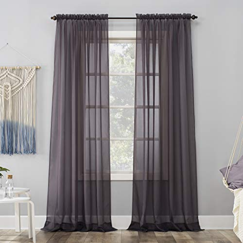 "No. 918 Emily Sheer Voile Rod Pocket Curtain Panel, 59"" x 63"", Fig Purple"