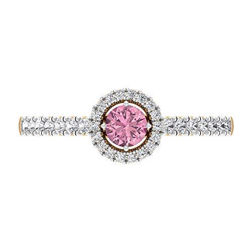 Rosec Jewels 14 quilates oro amarillo redonda round-brilliant-shape H-I Pink Diamond Tourmaline