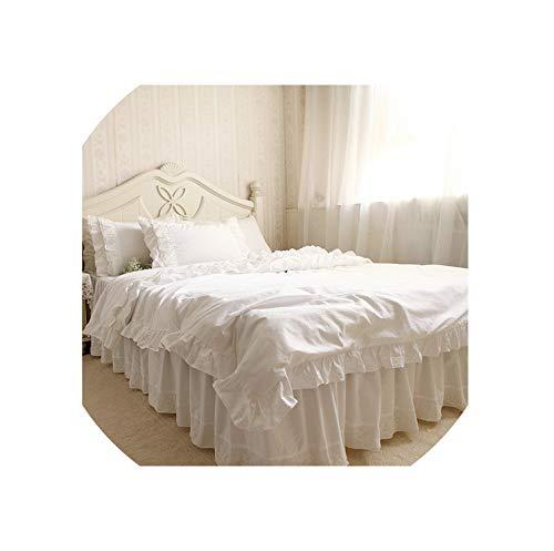 Groene Plaid Romantische Ruches Wit Kant Beddengoed Set, Prinses Dekbedovertrek Bed Rok Kussenslopen Voor Bruiloft decoratie Slaapkamer Huis Textiel