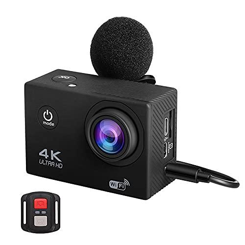 Fotocamera D'azione 4K Ultra HD, WiFi 16Mp 170D 30M Impermeabile Sport DV Casco Videocamera con Microfono, Telecomando, Schermo LCD E Custodia Impermeabile