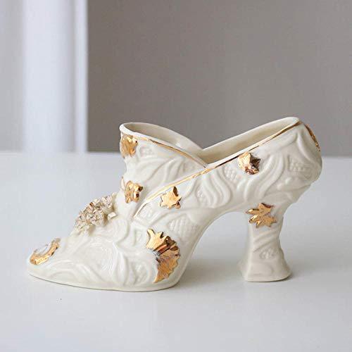 Muursculpturen Bustes Plating Relief Keramiek Simulatie Dames Schoenen Met Hoge Hakken Vaas Desktop Bloemstuk Decoratie