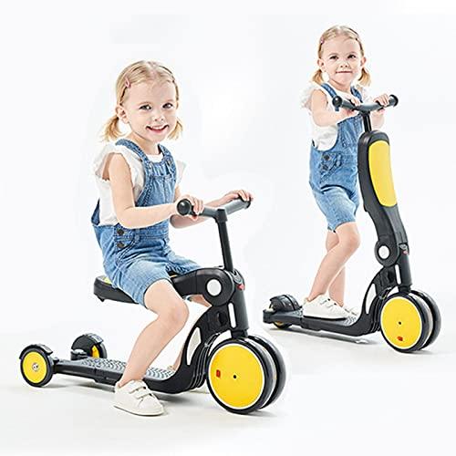 tquuquu Scooter para Niños 5 En 1, Triciclo De Equilibrio para Niños En Bicicleta, Niños Y Niñas, Scooter Ajustable, Regalos De Cumpleaños para Niños, Juguetes Al Aire Libre