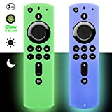 [2 Pack] Firestick Remote Cover Case (Glow in the Dark) Compatible with Fire TV Stick 4K Alexa Voice Remote Control (Green & Sky Blue)