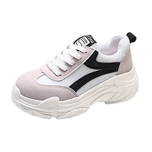 Sylar Zapatillas Deportivas De Mujer Running Zapatos Moda Cosiendo Zapatos De Lona Zapatillas De Cordones Suela Gruesa Zapatos Casuales 36-38.5