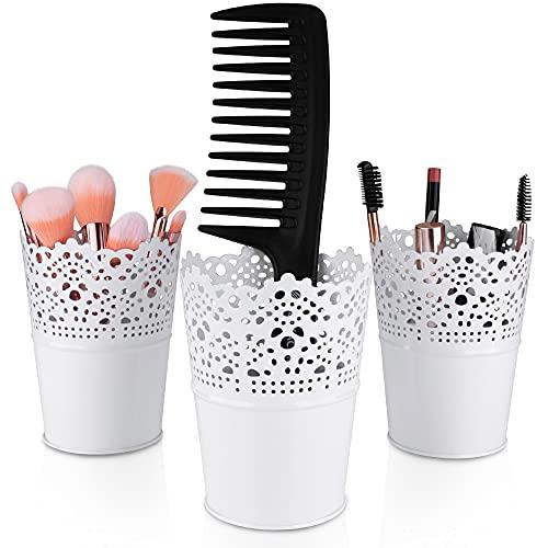 3 Makeup Organizer, Kosmetik Organizer zum Aufbewahren von Schminkpinsel, Lippenstift, Haarbürsten, Mascara usw. Pinselhalter als Becher für Make up Pinsel