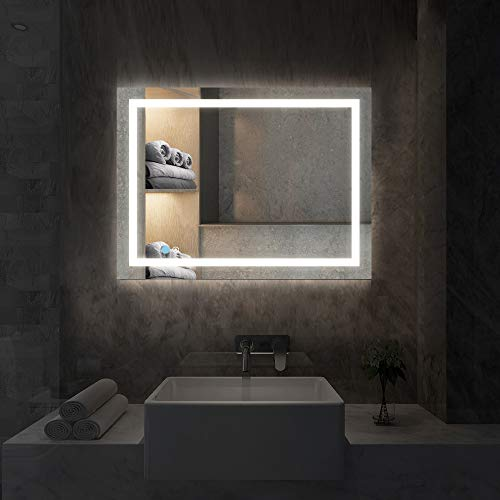 illucid Vanity Mirror with Lights Wall Mounted 24x18 inch Dimmer & Defogger -