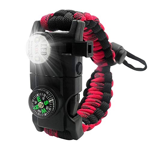 XINISI Adjustable Survival Bracelet, 7 core Paracord 20 in 1 Emergency Sports Wristband Gear kit Waterproof LED SOS Light, Compass, fire Starter Multi-Tool Adventure (Red+Green+Black)