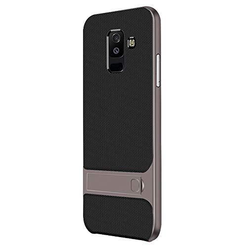 """UBERANT Capa para Galaxy A6 Plus 2018, leve, fina, 2 em 1, moldura de TPU macio e policarbonato rígido com função de suporte, antiderrapante, à prova de choque, capa protetora para Samsung Galaxy A6 Plus 2018 6,0"""" cinza"""