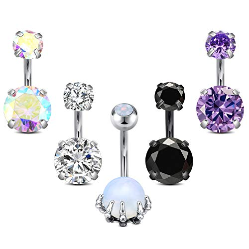 MODRSA Stainless Steel Internal Thread Belly Button Rings