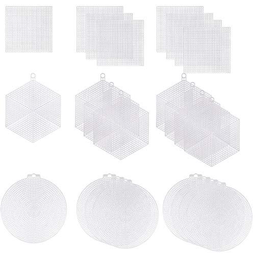 Punto de Cruz de Malla de Plástico Canvas 3 Forma Hojas de Rejilla de Malla de Bricolaje para Bordado Ganchillo Elaboración 24 Piezas