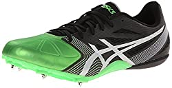 cheap ASICS Hyper Sprint 6 Men's Athletic Shoes, Onyx / Silver / Green, US 11.5M