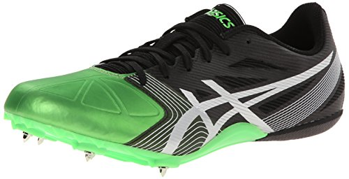 ASICS Men's Hypersprint 6 Track And Field Shoe,Onyx/Silver/Flash Green,11.5 M US