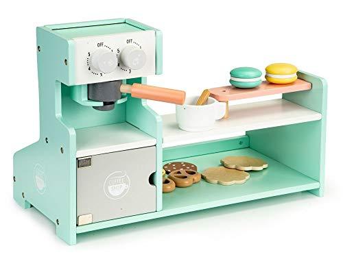 Cocina de madera de juguete, cocina de madera, pastelería, cafetería, tienda, panadería ECOTOYS