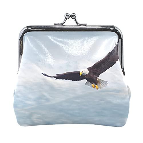 Bolsas para Monedero Eagle Flying On The Snow Mountain Bolsa para Monedero con Cierre Kiss Lock Monedero de Cuero para Mujer niña 4.5x4.1 Pulgadas