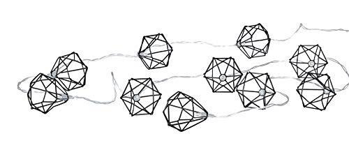 levandeo 10er Lichterkette LEDs Metall Schwarz Polygon Diamant Timer Licht Beleuchtung batteriebetrieben Einrichtung Wohnen Deko Girlande