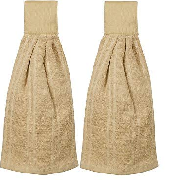 Kovot Set of 2 Cotton Hanging Tie Towels  Include 2 Hanging Towels That Latch with Hook Loop Tan