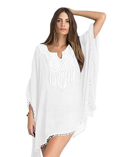 lau-fashion Damen Sommer Poncho Strandkleid mit Spitze Chiffon Kimono Tunika S/M/L Farbe weiß