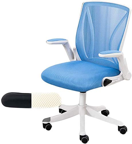 Office Chair Ergonomic Excutive Council Chair Adjustable Height Mesh Computer Desk Chair with Lumbar Support High-Back Office Chair for Dorm Room Study (Color : Blue, Size : White