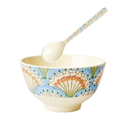Rice Essens-Set für Kinder, kleine Schüssel und Löffel aus Melamin, Motiv Blumen, Blau