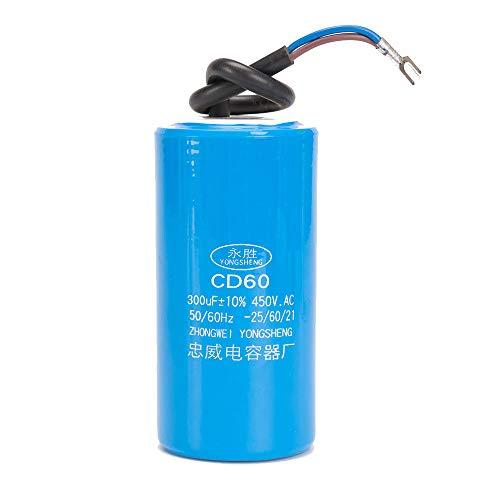 ICQUANZX 300UF Condensador de Motor de Arranque de Motor para operación CD60 con Cable de 450 VCA para Arranque de Motor de CA a 50 Hz / 60 Hz, operación de Bomba de Motor