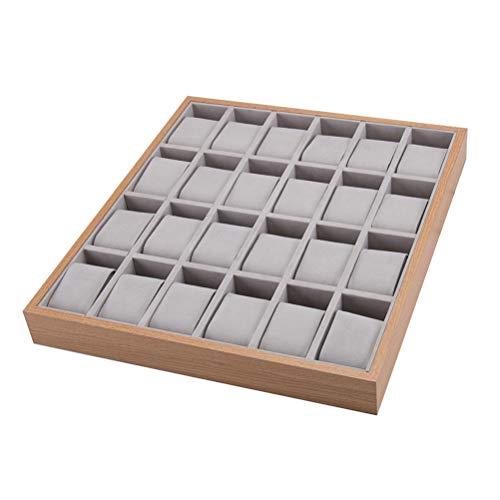 Uhrenbox Uhrentablett aus Holz MDF für 24 Uhren Schmucktablett Uhrenaufbewahrungsbox Uhren Schmuck Organizer Uhrenkasten Uhrenkoffer Schmuckkasten