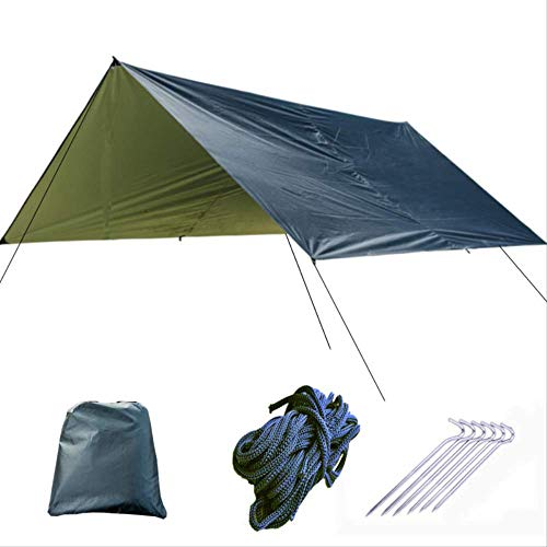 vcdee Silver Coating Waterproof Hammock Awning Canopy Tent Tarp Beach Camping Portable Pergola Sunshade Outdoor
