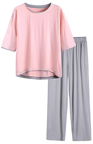 Latuza Women's Half Sleeve Pajama Set 2X Plus Pink2