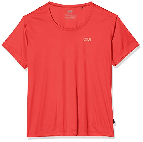 Jack Wolfskin Women's TECH T W Athletic T Shirts tulip red M