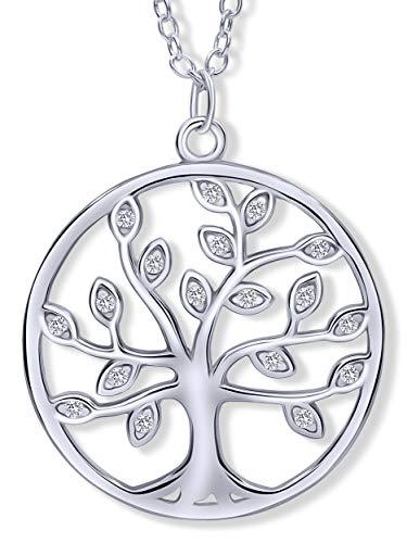 VIASOUL® Lebensbaum Kette I Baum des Lebens Halskette für Damen I Tree of Life aus 925er Silber I Mit 585er Gold überzogen I Der Original Lebensbaum (Silber)