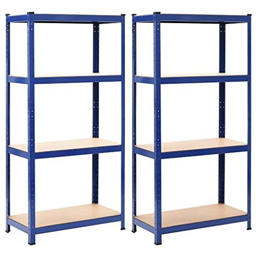 vidaXL 2X Estantería de Acero y MDF Almacenamiento Orden Economía Industrial Complemento Cocina Despensa Cuarto de Lavadora Garaje 80x40x160 cm Azul