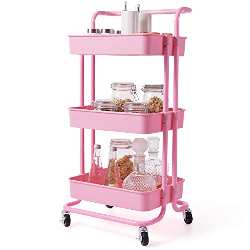 """Giantex 3-Tier Utility Cart, Storage Rolling Cart with Casters, Multifunctional Organizer Cart with Top Handle, ABS Mesh Baskets, Storage Trolley with Brakes for Home and Office 16.5""""x14""""x34"""" (Pink)"""