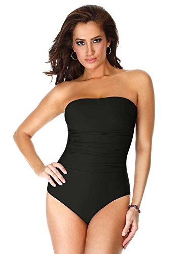 Miraclesuit Women's Swimwear Long Torso Solid Avanti Bandeau Underwire Bra One Piece Swimsuit, Black, 18L