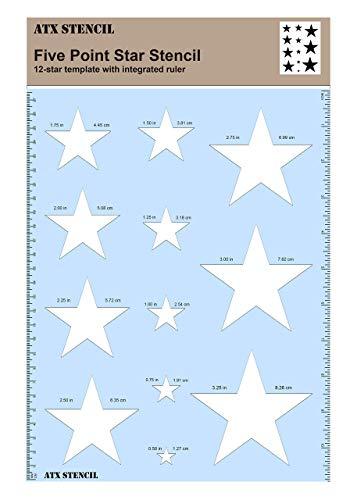 Sternschablone aus hartem Kunststoff, eingebautes Lineal, perfekt für Flaggen & verschiedene Bastelprojekte.