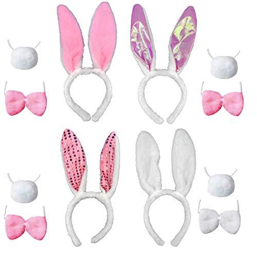 jenich 4 Juegos Disfraz de Conejo Diadema Oreja de Conejo Pajarita Cola Bunny Ears Diadema Oreja Felpa Cosplay de Orejas de Conejo Disfraz de Conejita Accesorio de Disfraz Pascua Despedida de Soltera