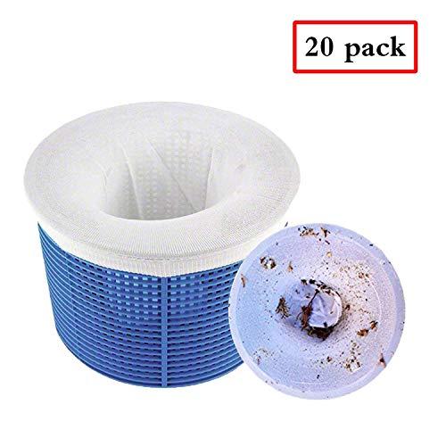 Chnaivy Pool Skimmer Socken Perfekte Filterschoner zum Schutz Ihrer Filter, Körbe und Skimmer Entfernt Schlacken, Blätter Öl, Pollen, Insekten, Abschaum & mehr 20 STÜCK