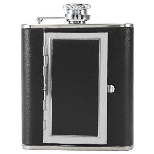 Fiaschetta per alcolici tascabile con portasigarette, in acciaio inox, portatile