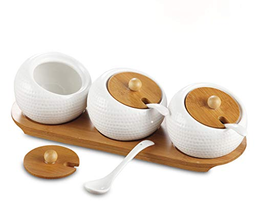 Yesland Porcelain Condiment Jar Spice Container with Bamboo Lids & Tray, Set of 3, 6.8 Oz Pottery Cruet Pot for Sugar Bowl Serving Tea, Coffee, Spice