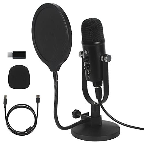 Micrófono condensador USB para podcast, compatible con PC/Micro/Mac/iOS/Android con micrófono de estudio profesional Plug & Play para grabación de voz y música, podcasting, streaming, juegos