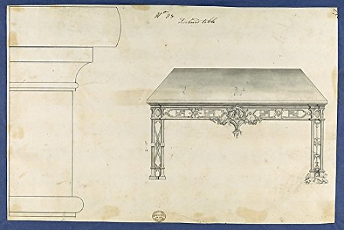 The Poster Corp Thomas Chippendale – Sideboard Table from Chippendale Drawings Vol. II Kunstdruck (45,72 x 60,96 cm)