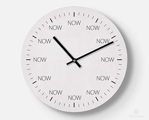Wanduhr - Now - 30 cm groß - Im Jetzt leben - Leises Uhrwerk - Handmade