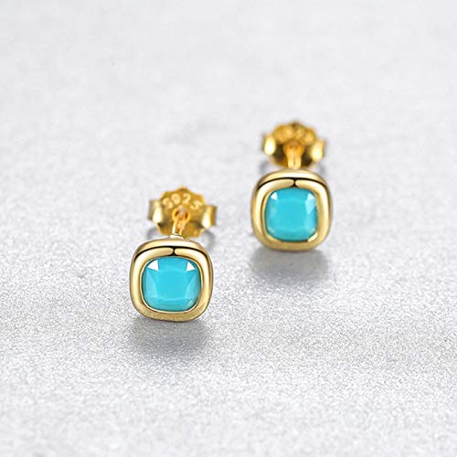 AQUALITYS Time Simple 925 Sterling Silver Square Cubic Zirconia Stud Earrings For Women Pure Silver 925 Earrings Jewelry-Candy Blue
